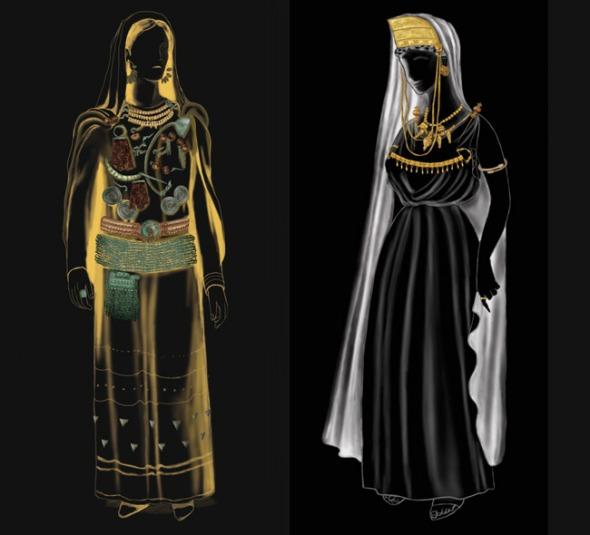 Γυναίκα της Οινοτρίας (δεξιά), Ιέρεια της Σίνδου.