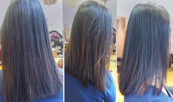 Οmbre στο μαύρο... Η Μαρία είπε πως, αν είχα λίγο περισσότερη υπομονή, θα έκανε θαύματα με το χρώμα. Πάντως, κι αυτό θαύμα μου φαίνεται! Για όσες έχουν απορία, το μαύρο είναι Koleston και το ξανοιγμένο μέρος έχει περαστεί με Illumina (και τα δύο της Wella)  © beautyworkshop.gr