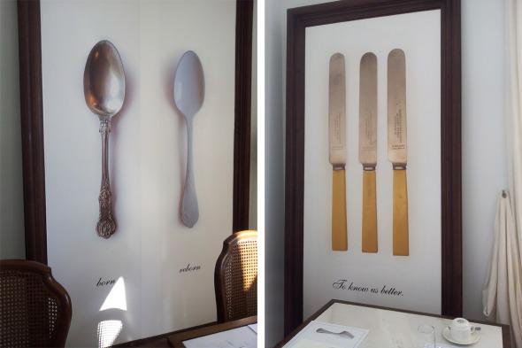 Κουτάλια και μαχαίρια στο ντεκόρ της σάλας © beautyworkshop.gr