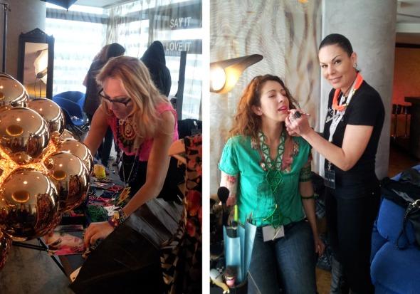 ...στην οποία η αγαπημένη μου Αλεξάνδρα Κατσαΐτη (αριστερά) μας αναβάθμισε στυλιστικώς, ενώ η γνωστή μέικ απ άρτιστ Έλενα Ψωμά μας έδειξε τον καλύτερο τρόπο εφαρμογής των προϊόντων (εδώ, με την καλή φίλη και συνάδελφο Χάιντι Νικολάου). © beautyworkshop